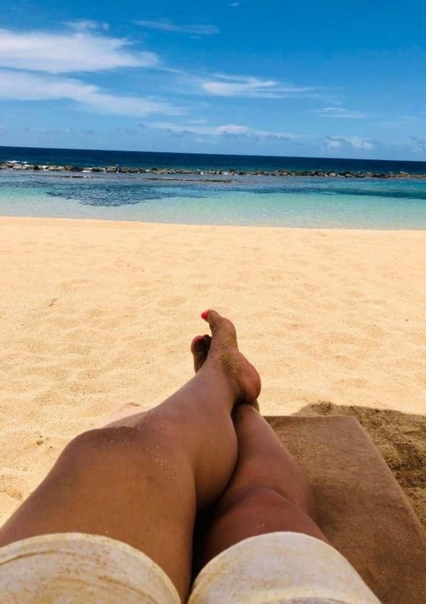 Relaxing view of white sands ocean lagoon at Dorado beach Ritz Carlton Reserve Puerto Rico