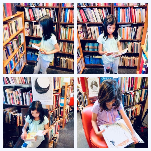 Kids reading in bookstore