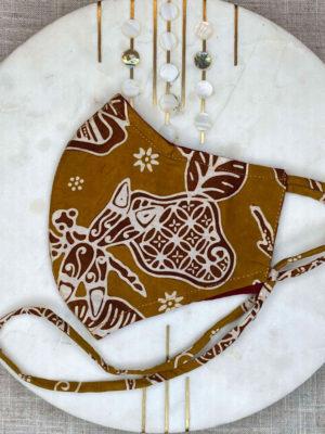 Hand Stamped Natural Dye Batik Mask With Lanyard