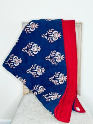 Baby Blanket – Indigo with red crown floral