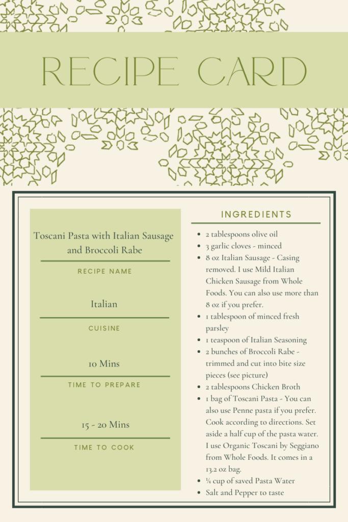 Italian dinner recipe card